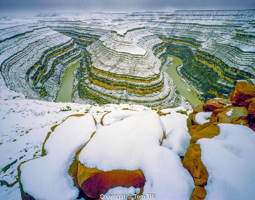 Goosenecks of the San Juan RIver,  Bears Ears National Monument, Utah  Rare heavy winter storm