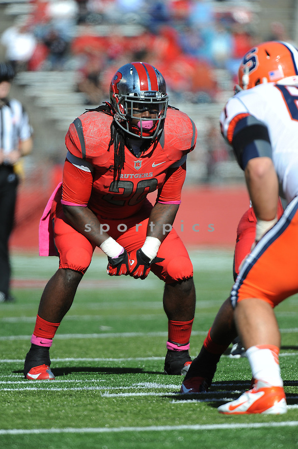 Rutgers University Scarlet Knights linebacker Khaseem Greene (20) during game against University of Syracuse Orangemen played at High Point Solutions Stadium on Saturday, October 13, 2012 in Philadelphia, PA. Rutgers defeated Syracuse 23-15.