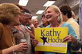 The crowd starts to celebrate as poll results come in favoring Democratic candidate Kathy Hochul during a special election for the NY-26th at UAW Union Hall on May 24, 2011 in Amherst, New York.  Hochul defeated heavily favored Republican candidate Jane Corwin to give the Democrats a seat in the House of Representatives after former representative Christopher Lee resigned amidst a sex scandal.  Photo By Mike Janes/Four Seam Images