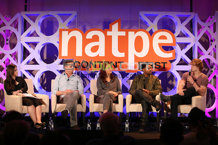 Picture by Vaughn Ridley/SWpix.com - 19/20/21 01/2016 - Natpe Miami 2016, Eden Roc and Fountainebleau hotels South Beach<br /> Ali Brash, Dan Weinstein Mamrie Hart, King Back and Logan Paul speak during a Platforms Accelerated 2 session.<br /> copyright picture - Simon Wilkinson - simon@swpix.com