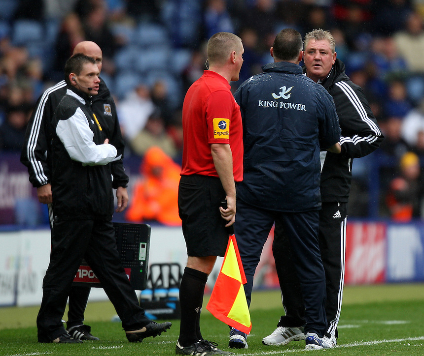 Hull City's Manager Steve Bruce  is dismissed for his rant at the linesman..Football - npower Football League Championship - Leicester City v Hull City - Sunday 23rd September 2012 - King Power Stadium - Leicester..