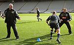 Sir Brian Lochore helps with Asst. Coach Steve Hansen at All Blacks training. Auckland, Wednesday 22 August 2007.
