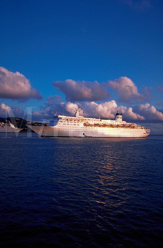 Royal Princess cruise liner Sky Princess near St. Thomas.