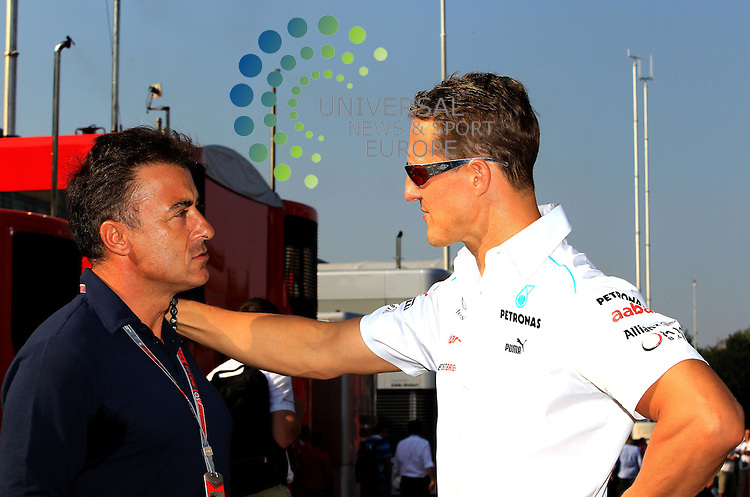 Formula 1 Race 13 GP of Italy, Monza - 07.-09. Aug. 2012.Jean Alesi (FRA) - Michael Schumacher (GER), Mercedes GP ..Hasan Bratic;10/9/2012 Universal News And Sport (Europe) .All pictures must be credited to www.universalnewsandsport.com. (Office)0844 884 51 22.
