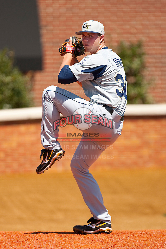 Starting pitcher Buck Farmer #30 of the Georgia Tech Yellow Jackets warms-up in the bullpen prior to taking on the Wake Forest Demon Deacons at Gene Hooks Field on April 17, 2011 in Winston-Salem, North Carolina.  Photo by Brian Westerholt / Four Seam Images