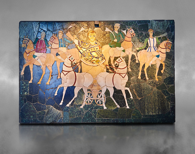 4th Century AD Roman Opus Sectile Mosaic of a chariot & 4 horses from the basilica de Giunio Basso.  Museo Nazionale Romano ( National Roman Museum), Rome, Italy.