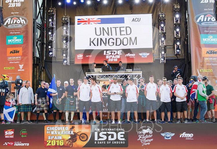 United Kingdom enduro team during the presentation of the FIM international six days of enduro 2016 in Pamplona, Spain. October 09, 2016. (ALTERPHOTOS/Rodrigo Jimenez)