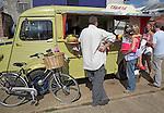 Yellow Citroen van selling crepes, Woodbridge, Suffolk, England,