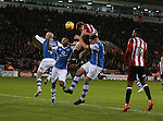 Jack O'Connell of Sheffield Utd gets a header on target during the English League One match at Bramall Lane Stadium, Sheffield. Picture date: November 29th, 2016. Pic Simon Bellis/Sportimage