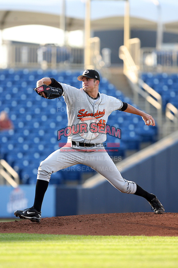 June 11th 2008:  Pitcher Tony Butler of the Delmarva Shorebirds, Class-A affiliate of the Baltimore Orioles, during a game at Classic Park in Eastlake, OH.  Photo by:  Mike Janes/Four Seam Images