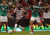 MEXICO CITY, MEXICO - AUGUST 15, 2012:  DaMarcus Beasley (17) of the USA MNT takes the ball away from Jesus Zavala (17) of  Mexico during an international friendly match at Azteca Stadium, in Mexico City, Mexico on August 15. USA won 1-0.