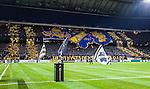 Solna 2014-03-31 Fotboll Allsvenskan AIK - IFK G&ouml;teborg :  <br /> Tifo av AIK:s supportrar p&aring; Norra St&aring; innan matchen<br /> (Foto: Kenta J&ouml;nsson) Nyckelord:  AIK Gnaget Solna IFK G&ouml;teborg Bl&aring;vitt inomhus interi&ouml;r interior supporter fans publik supporters tifo