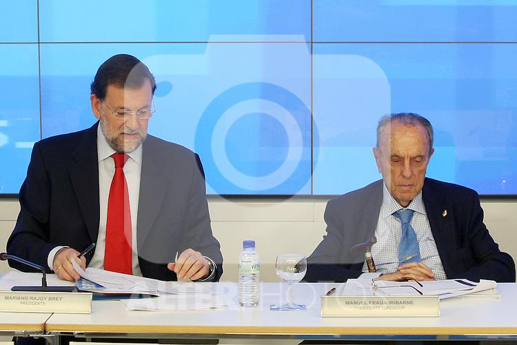 Mariano Rajoy y Manuel Fraga durante el Comite Ejecutivo Nacional del PP..(ALTERPHOTOS/Acero).