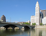 Leveque Tower, Broad Street Bridge, and Scioto River in Columbus, Ohio.