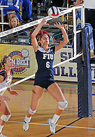 FIU setter Jessica Egan (6) plays against Western Kentucky in the semi-finals of the Sunbelt Conference Volleyball Tournament.  Western Kentucky won the match 3-0 on November 18, 2011 at Miami, Florida. .