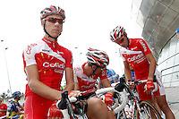 Florent Barle, Nico Sijmens and Mickael Buffaz before the stage of La Vuelta 2012 beetwen Santander-Fuente De.September 5,2012. (ALTERPHOTOS/Acero) /NortePhoto.com<br /> <br /> **CREDITO*OBLIGATORIO** *No*Venta*A*Terceros*<br /> *No*Sale*So*third* ***No*Se*Permite*Hacer Archivo***No*Sale*So*third