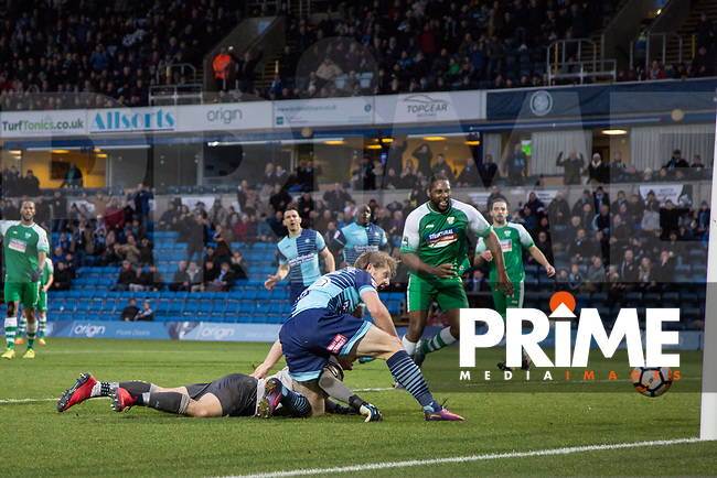 Craig Mackail-Smith of Wycombe Wanderers scores his goal during the FA Cup 2nd round match between Wycombe Wanderers and Leatherhead at Adams Park, High Wycombe, England on 3 December 2017. Photo by Kevin Prescod.