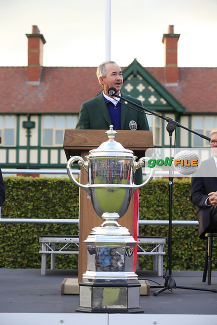John Miller (USA Team Captain) speaking at the closing ceremony for the Walker cup Royal Lytham St Annes, Lytham St Annes, Lancashire, England. 13/09/2015<br /> Picture Golffile | Fran Caffrey<br /> <br /> <br /> All photo usage must carry mandatory copyright credit (&copy; Golffile | Fran Caffrey)