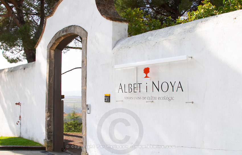 Sign and entrance portico. Albet i Noya. Penedes Catalonia Spain