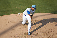 Burlington Royals starting pitcher Elvis Luciano (32) delivers a pitch to the plate against the Johnson City Cardinals at Burlington Athletic Stadium on July 15, 2018 in Burlington, North Carolina. The Cardinals defeated the Royals 7-6.  (Brian Westerholt/Four Seam Images)