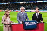 Solna 2015-10-12 Fotboll EM-kval , Sverige - Moldavien :  <br /> Kanal 5 programledare Karin Frick , expert Hans Hasse Backe och Simon Bank i TV-studion inf&ouml;r matchen mellan Sverige och Moldavien <br /> (Photo: Kenta J&ouml;nsson) Keywords:  Sweden Sverige Solna Stockholm Friends Arena EM Kval EM-kval UEFA Euro European 2016 Qualifying Group Grupp G Moldavien Moldova TV TV-k&auml;ndis k&auml;ndis