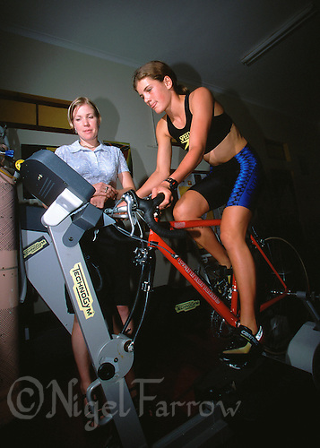 FEB 1999 - STELLENBOSCH, RSA - Triathlete Annelle Rabie undergoes lab testing (PHOTO (C) NIGEL FARROW)