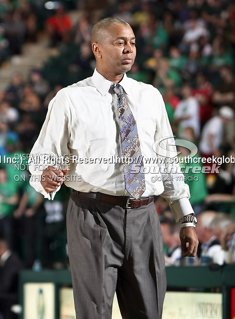 North Texas Mean Green head coach Johnny Jones in action during the NCAA  basketball game between the South Alabama Jaguars and the University of North Texas Mean Green at the North Texas Coliseum,the Super Pit, in Denton, Texas. UNT defeated South Alabama 82 to 79...