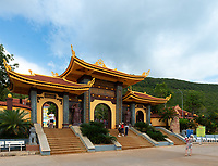 Chinese Tourists Taking Photos Near The Gates of Ho Quoc Temple in Phu Quoc, Vietnam