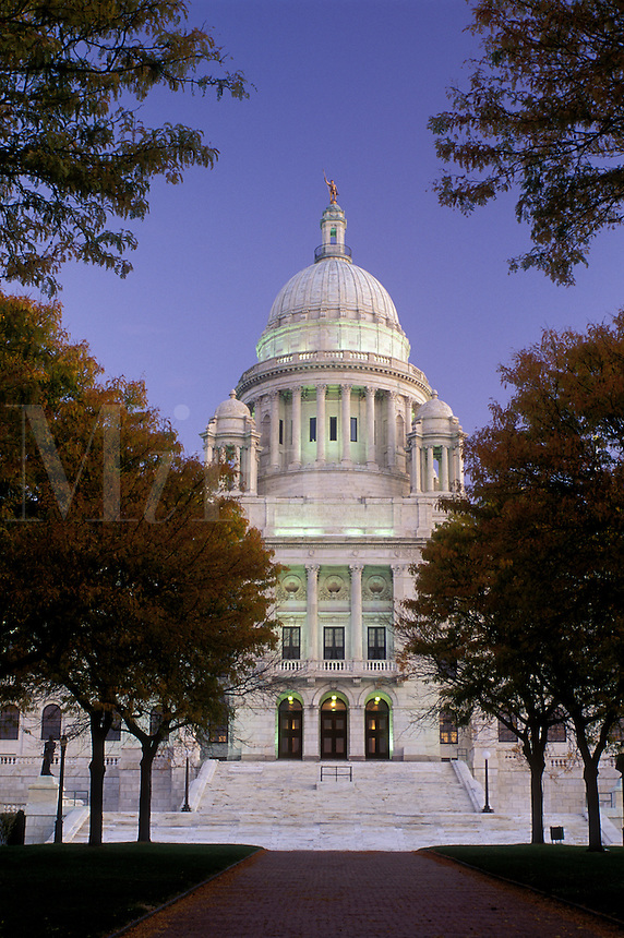 State Capitol, Providence, State House, Rhode Island, RI, The Rhode Island State House in the evening in the Capital City of Providence