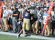 Annapolis, MD - October 21, 2017: UCF Knights wide receiver Dontay Mayfield (17) catches a pass during the game between UCF and Navy at  Navy-Marine Corps Memorial Stadium in Annapolis, MD.   (Photo by Elliott Brown/Media Images International)