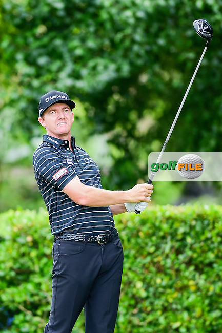 Jimmy Walker (USA) watches his tee shot on 1 during the round 1 of  the AT&amp;T Byron Nelson, TPC Four Seasons, Irving, Texas, USA. 5/19/2016.<br /> Picture: Golffile | Ken Murray<br /> <br /> <br /> All photo usage must carry mandatory copyright credit (&copy; Golffile | Ken Murray)