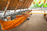Replica of ancient fishing canoe, Puʻuhonua o Hōnaunau National Historical Park, Big Island, Hawaii.