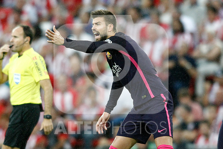 FC Barcelona's Gerard Pique during La Liga match. August 28,2016. (ALTERPHOTOS/Acero)