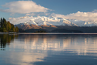 Snow covered mountains behind Lake Wanaka on a winters morning