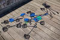 Twenty fishnets lie drying on the the deck outside the Hayward Shoreline Interpretive Center after being used in a children's education program