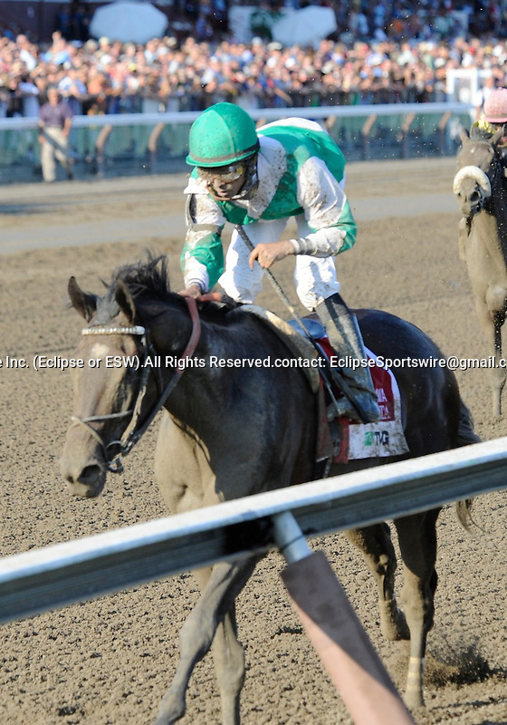 Royal Delta (no. 1), ridden by Jose Lezcano and trained by William Mott, wins the 131st running of the grade 1 Alabama Stakes for three year old fillies on August 20, 2011 at Saratoga Race Track in Saratoga Springs, New York.  (Bob Mayberger/Eclipse Sportswire)
