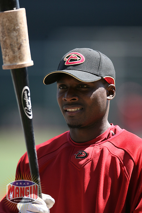 SAN FRANCISCO - APRIL 15:  Orlando Hudson of the Arizona Diamondbacks takes batting practice before the game against the San Francisco Giants at AT&T Park in San Francisco, California on April 15, 2008.  (Photo by Brad Mangin)
