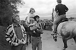 Appleby Gypsy Fair 1981. Gypsy father and daughter. Daddies girl in new dress.