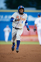 St. Lucie Mets center fielder John Mora (4) running the bases during a game against the Dunedin Blue Jays on April 19, 2017 at Florida Auto Exchange Stadium in Dunedin, Florida.  Dunedin defeated St. Lucie 9-1.  (Mike Janes/Four Seam Images)
