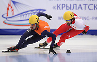 SHORT TRACK: MOSCOW: Speed Skating Centre ìKrylatskoeî, 13-03-2015, ISU World Short Track Speed Skating Championships 2015, 1500m Men, Sjinkie KNEGT (#148 | NED), Charles HAMELIN (#110 | CAN), ©photo Martin de Jong