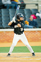 Pat Blair (11) of the Wake Forest Demon Deacons at bat against the West Virginia Mountaineers at Wake Forest Baseball Park on February 24, 2013 in Winston-Salem, North Carolina.  The Demon Deacons defeated the Mountaineers 11-3.  (Brian Westerholt/Four Seam Images)