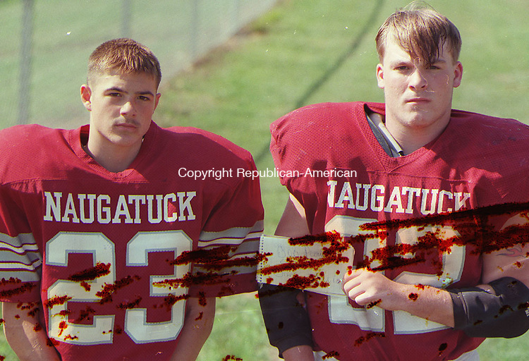 NAUGATUCK, CT 09/12/98--0912CA06.tif  (left to right:)Bob Plourde #23 and Jim Gillis #22 both from Naugatuck Football--CRAIG AMBROSIO staff photo for REPORTERS NAME / STANDALONE PHOTO  (Filed in Scans/Scan-In)