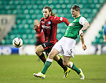 Hibs v St Johnstone....21.12.13    SPFL<br /> Michael Nelson and Stevie May<br /> Picture by Graeme Hart.<br /> Copyright Perthshire Picture Agency<br /> Tel: 01738 623350  Mobile: 07990 594431
