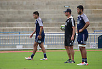 Rieko Ioane (L), Tabai Matson and Akira Ioane. Maori All Blacks Train. Suva, Fiji. July 9 2015. Photo: Marc Weakley