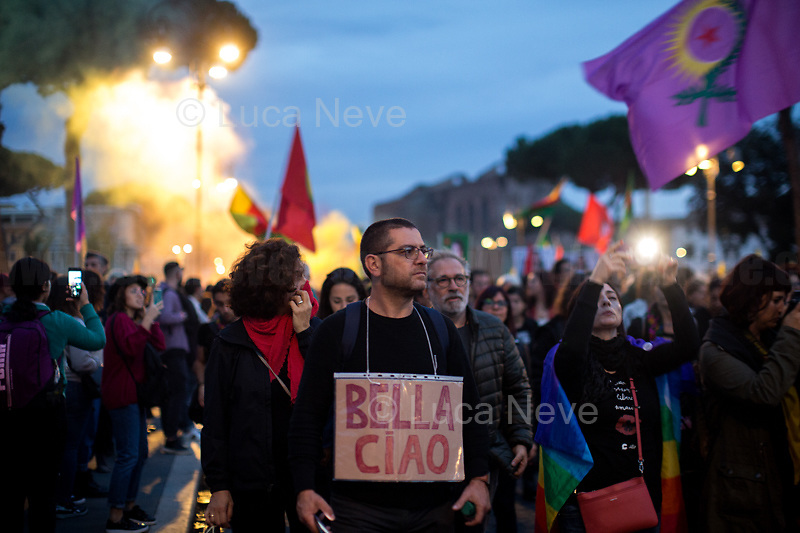 "Rome, 01/11/2019. Today, to mark the 5th World Kobane Day (1.), tens of thousands of people marched from Piazza della Repubblica to Via dei Fori Imperiali. The aim of the demo was to protest against the ongoing Turkish unilateral military intervention in North-East Syria, and in support & solidarity with the Kurdish People of Rojava (275,000+ already displaced).<br /> UIKI, Comunità Curda in Italia, Rete Kurdistan urging to (2.):<br /> -Stop the war & withdrawl of Turkish Troops from North-East of Syria<br /> -Establish a NO-Fly-Zone under the aegis of UN & International Community with deployement of an interposition force<br /> -Stop military & diplomatic cooperation of Italy & the EU with Turkey<br /> -Create a humanitarian corridor to evacuate wounded people<br /> -Release Ocalan & all the political prisoners held in Turkish prisons<br /> ""Turkey will soon be moving forward with its long-planned operation into Northern Syria [Operation Peace Spring]. The US Armed Forces will not support or be involved in the operation, and US forces, having defeated the ISIS territorial 'Caliphate', will no longer be in the immediate area"" - White House's statement, 07.10.19. With this move President Trump has allegedly abandoned his Kurdish allies (Syrian Democratic Forces, SDF are Kurdish-led Forces) of the war against IS (aka ISIS, Daesh, Islamic State) and, with his support to the Turkish invasion of North-East Syria, he could widen the eight-year Syrian conflict. Conversely, Turkish President, Recep Tayyip Erdogan, said the operation has the aim to create a ""safe zone"" cleared of Kurdish militias which will also house Syrian refugees. The EU, numerous Nations across the planet, the UN have expressed concern and condemned this unilateral decision, urging Turkey to end its offensive.<br /> Footnotes & Links:<br /> 1. http://bit.do/ffK7V (London)<br /> 2. http://bit.do/ffK65<br /> Previous Demos: P. Barberini http://bit.do/fczGS - P. Indipendenza http://bit.do/fcTHo - P. Santi Apostoli http://bit.do/ffop5 - P. Montecitorio http://bit.do/ffCj"