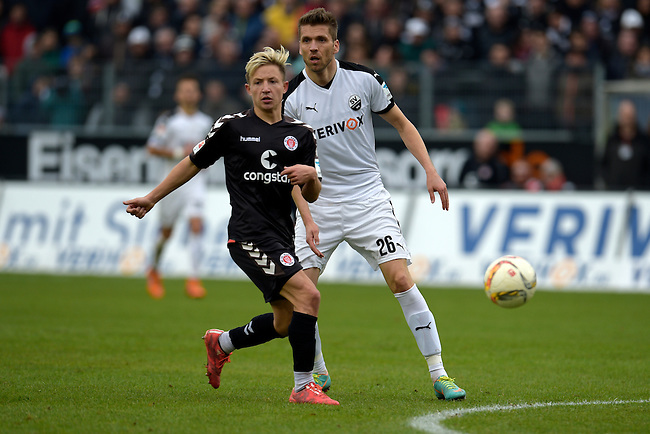 GER - Sandhausen, Germany, March 19: During the 2. Bundesliga soccer match between SV Sandhausen (white) and FC ST. Pauli (grey) on March 19, 2016 at Hardtwaldstadion in Sandhausen, Germany. (Photo by Dirk Markgraf / www.265-images.com) *** Local caption *** Marc Rzatkowski #11 of FC St. Pauli, Ranisav Jovanovic #26 of SV Sandhausen