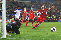 Sam Vokes of Wales pounces onto the loose ball as Jaime Penedo of Panama saves his penalty during the International Friendly match between Wales and Panama at The Cardiff City Stadium, Wales, UK. Tuesday 14 November 2017