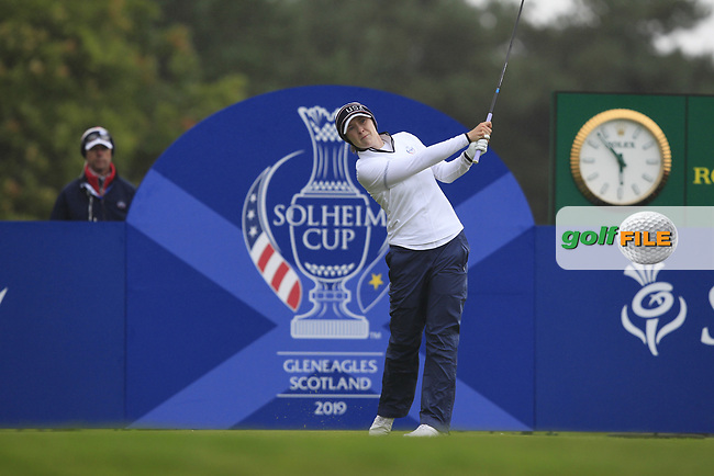 Brittany Altomare of Team USA on the 17th tee during Day 2 Fourball at the Solheim Cup 2019, Gleneagles Golf CLub, Auchterarder, Perthshire, Scotland. 14/09/2019.<br /> Picture Thos Caffrey / Golffile.ie<br /> <br /> All photo usage must carry mandatory copyright credit (© Golffile | Thos Caffrey)