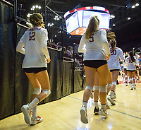 STANFORD, CA - December 1, 2017: Audriana Fitzmorris, Blake Sharp, Caitlin Keefe at Maples Pavilion. The Stanford Cardinal defeated the CSU Bakersfield Roadrunners 3-0 in the first round of the NCAA tournament.