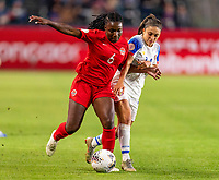 CARSON, CA - FEBRUARY 07: Deanne Rose #6 of Canada is defended by Priscila Chinchilla #14 of Costa Rica during a game between Canada and Costa Rica at Dignity Health Sports Park on February 07, 2020 in Carson, California.